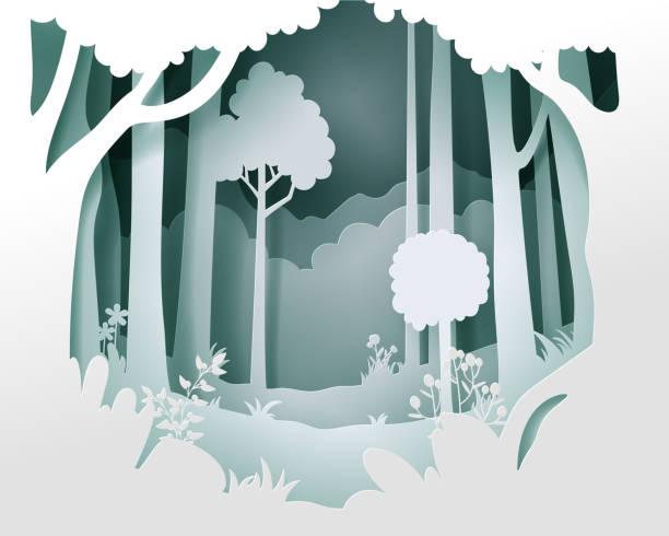 ilustrações de stock, clip art, desenhos animados e ícones de vector landscape with deep foggy forest. - forest