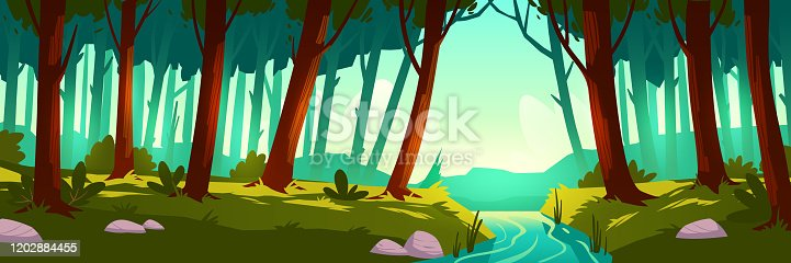 River flowing through forest. Vector background of nature landscape with green trees, grass and water stream. Cartoon illustration of jungle, wild park or garden with bushes and brook