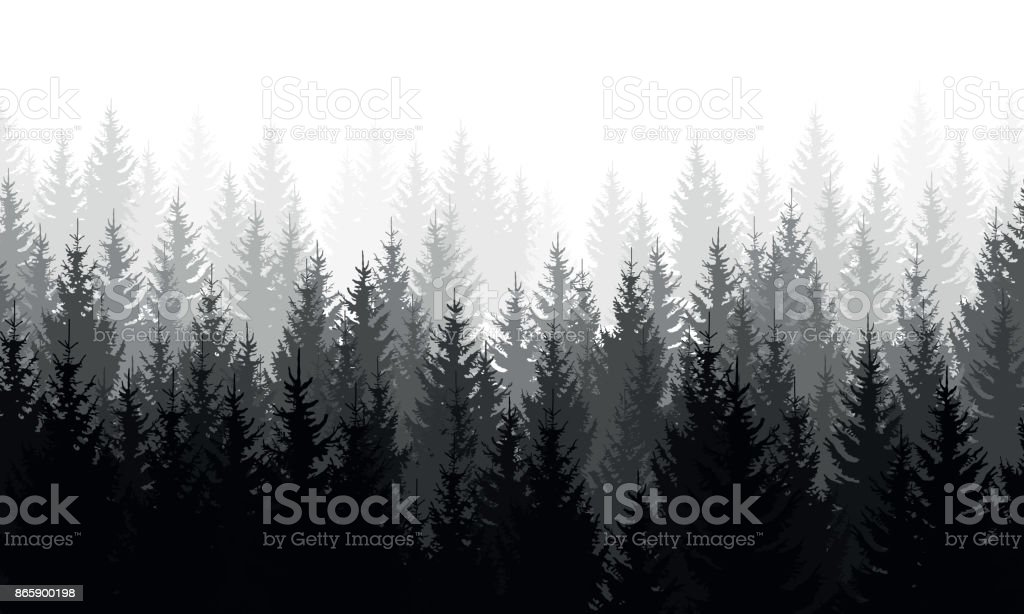 royalty free grey mountains forest retro vintage vector