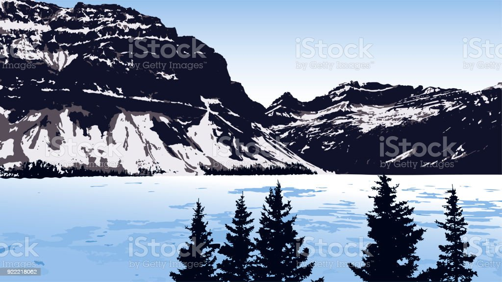 Vector Landscape With Lake, Mountains, And Trees vector art illustration