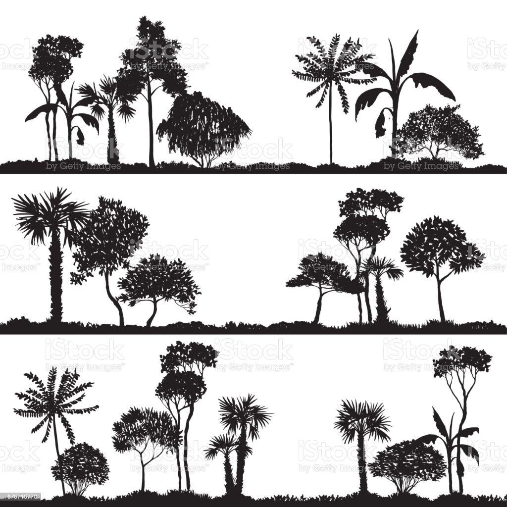 向量風景與棕櫚樹 免版稅 向量風景與棕櫚樹 向量插圖及更多 俄羅斯 圖片