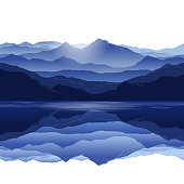Vector landscape with silhouettes of blue mountains with reflection in lake with white background