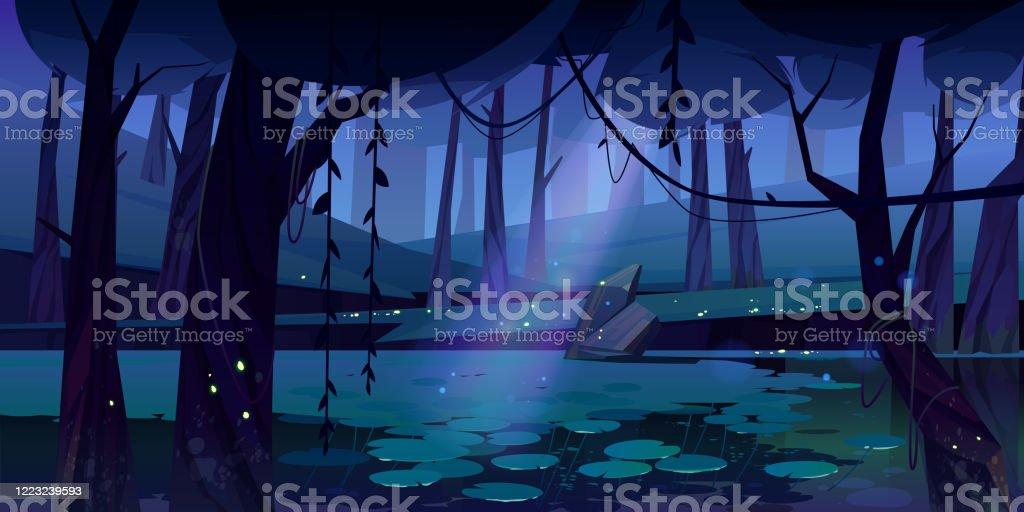 Paesaggio vettoriale con palude nella foresta notturna - arte vettoriale royalty-free di Acqua