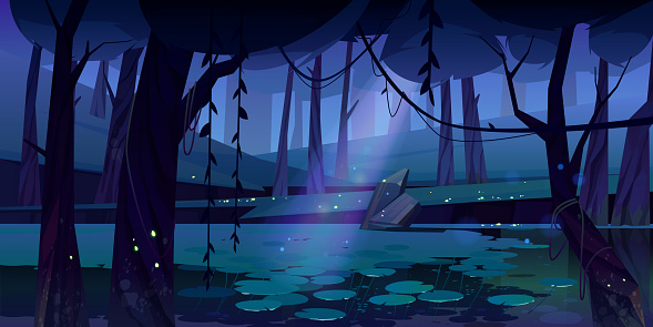 Vector landscape with swamp in night forest