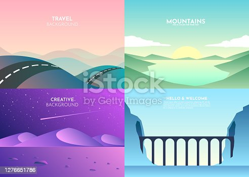 Vector landscapes in a minimalist style. Set of four backgrounds. Road over the mountains, lake, sunset, night, bridge, tunnel in the rock over the river. Website template. UI design