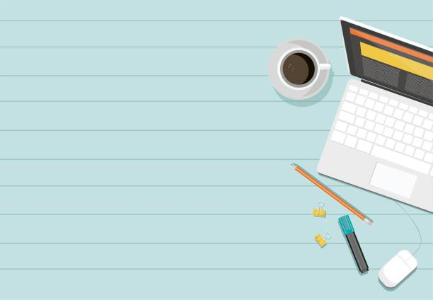 vektor-laptop, kaffee, bleistift und eine markierung auf einem tisch. - webdesigner grafiken stock-grafiken, -clipart, -cartoons und -symbole