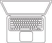 Vector laptop icon lineart