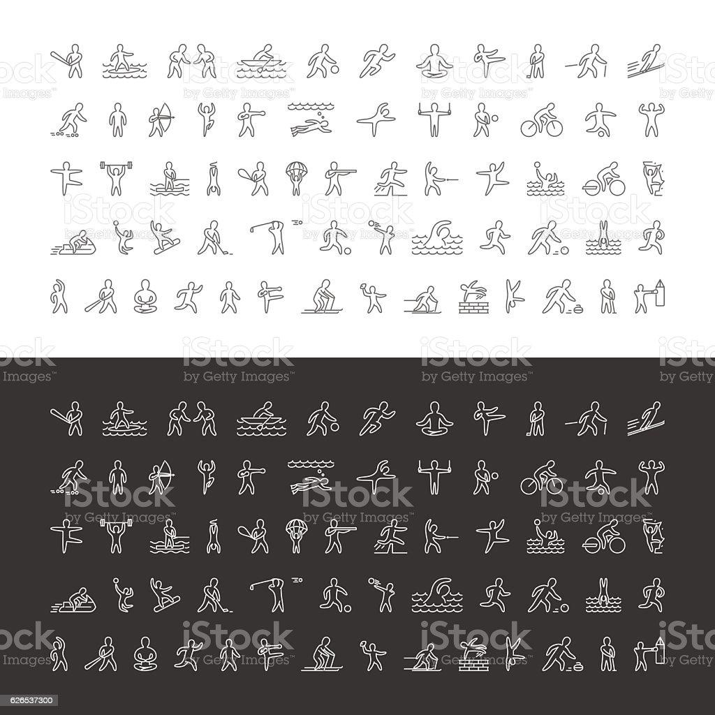 Vector large line set of sports icons. – Vektorgrafik