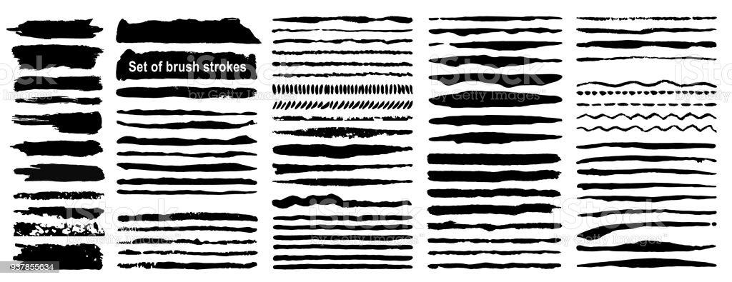 Vecteur important ensemble de 80 coups de pinceau d'encre grunge. Peinture noire