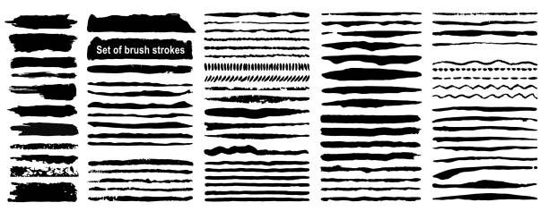 vector large set of 80 grunge ink brush strokes. black artistic paint, hand drawn. dry brush stroke elements collection isolated on white background. - grunge frames stock illustrations, clip art, cartoons, & icons