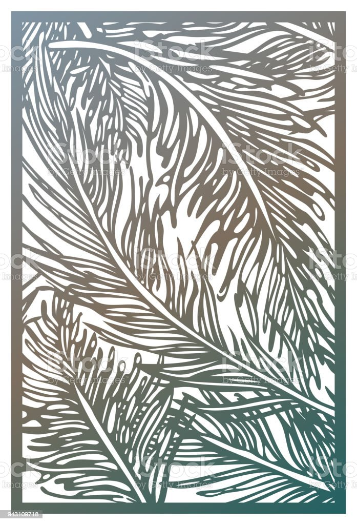 Vector Laser cut panel. Abstract Pattern with feathers template for decorative panel. Template for interior design, layouts wedding invitations, gritting cards, envelopes, decorative art objects etc. Image suitable for engraving, printing, plotter cutting vector art illustration