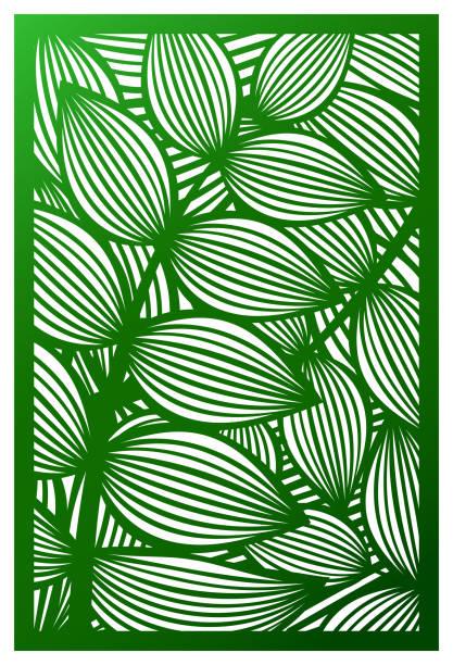 vektor lasergeschnittenes panel. ausschnitt-silhouette mit botanischen muster. abstrakte muster vorlage für dekorplatte. vorlage für das interior design, layouts, hochzeitseinladungen, knirschte mit karten, umschläge, dekorative kunst objekte etc.. bild für engravin geeignet - laservorlagen stock-grafiken, -clipart, -cartoons und -symbole
