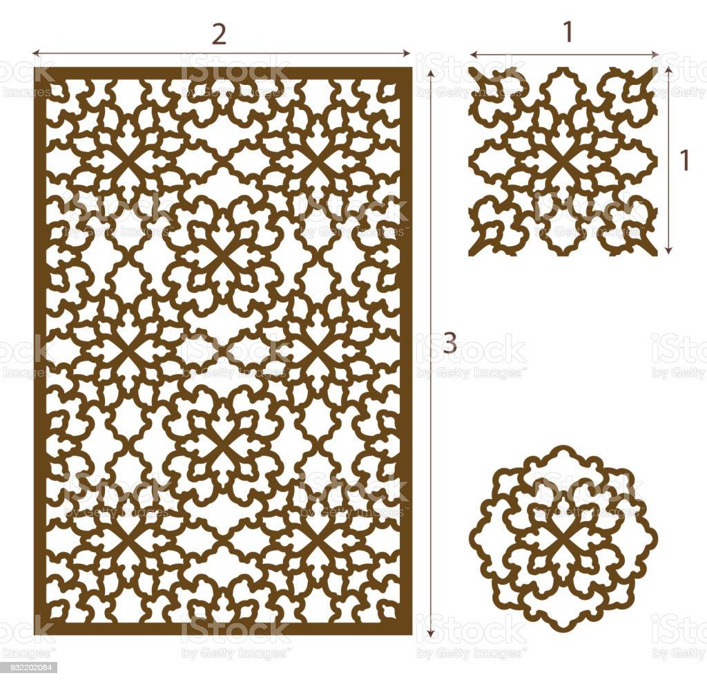 Ilustración de Vector Láser Corte Panel El Patrón De Diseño Oriental ...
