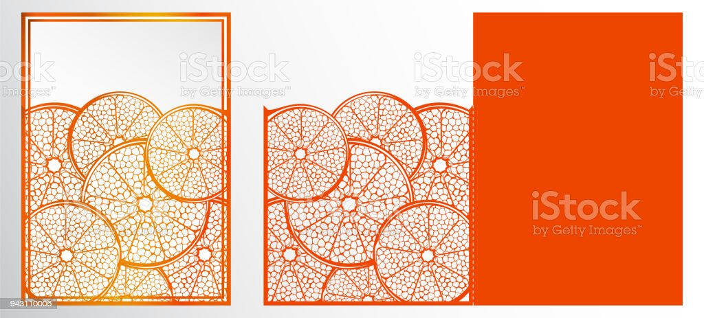 Vector Laser Cut Template Card Abstract Natural Pattern With Section ...