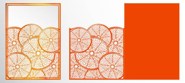 vektor lasergeschnittenes vorlage karte. abstrakte natürliche muster mit abschnitt von zitrusfrüchten. grußkarte, umschlag oder hochzeit einladung kartenvorlage. die schneiden papierkarte mit durchbrochenen ornament. freisteller papierkarte für laser schneiden oder würfel schneiden-vorlage. u - stanzen stock-grafiken, -clipart, -cartoons und -symbole