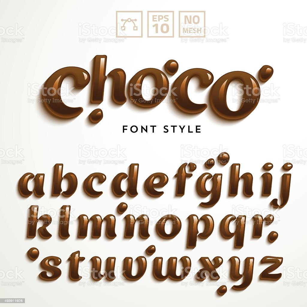 Vector Latin Alphabet Made Of Chocolate Font Style Stock