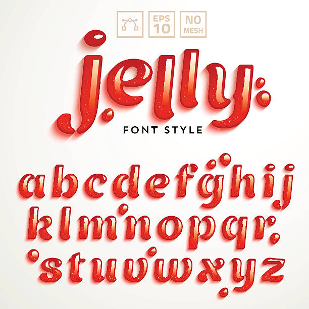 Vector latin alphabet made of strawberry jelly. Font style. Vector latin alphabet made of strawberry jelly. Liquid font style. jello stock illustrations