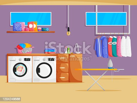 Vector laundry room interior in cartoon flat style. Illustration of basement with washing machine, dryer, clothes, shelf, powder and chemical products, windows and furniture. Cleaning Service Banner
