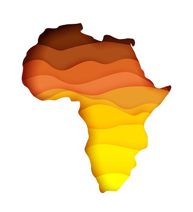 Vector layered paper cut style map of Africa continent. Travel poster, banner template. Africa day card.