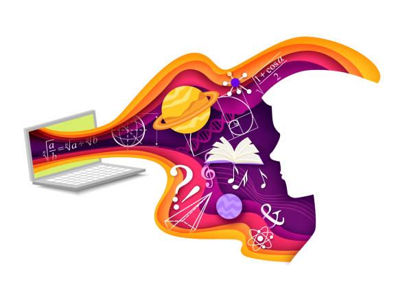 stockillustraties, clipart, cartoons en iconen met vector gelaagde paper cut stijl wetenschap leren samenstelling - e learning