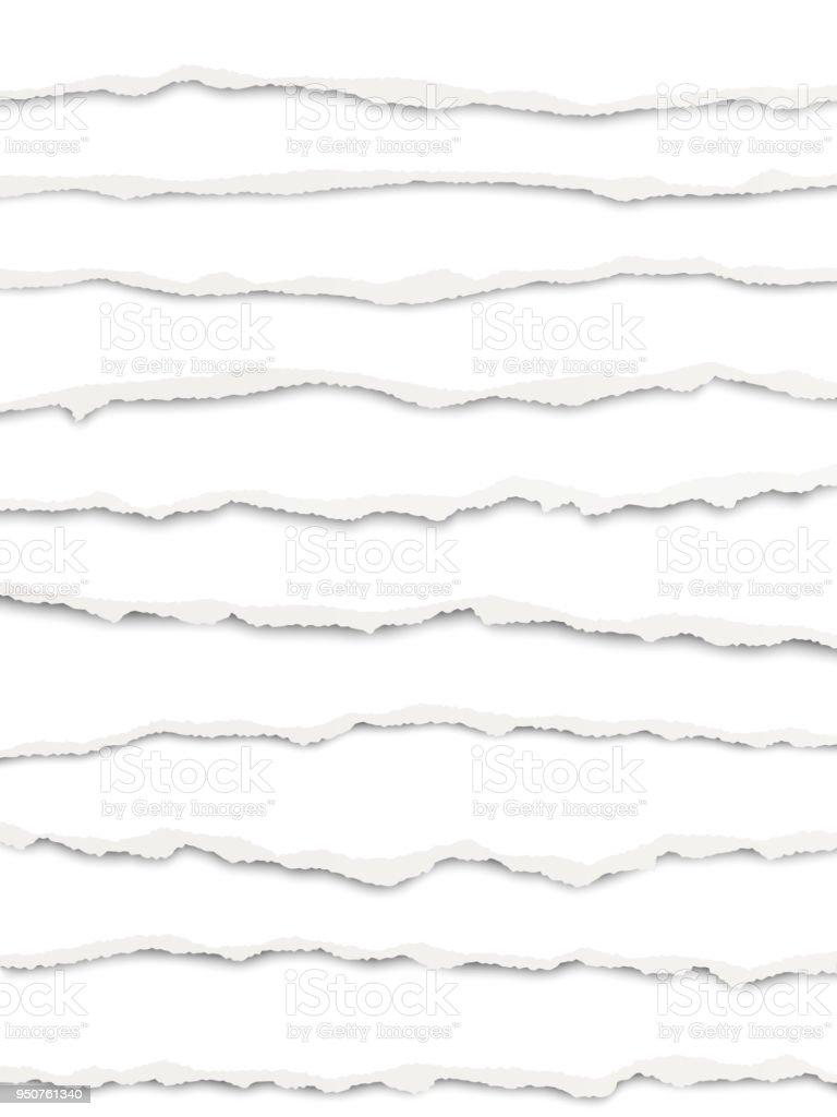 Vetor em camadas de papel branco rasgado com sombra suave - ilustração de arte em vetor