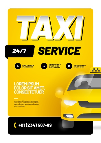 Vector layout design template for advertising taxi service.
