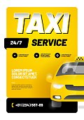Vector layout with taxi car. Design for advertising a taxi service. Adapt for poster, flyer, banner or social media.