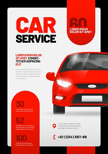 Vector layout design template for car wash service.