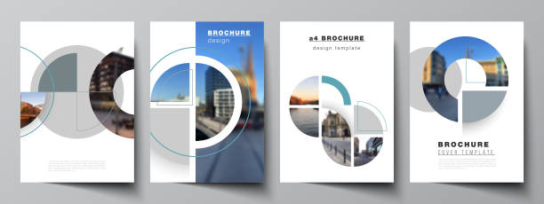 Vector layout of A4 cover mockups design templates for brochure, flyer layout, booklet, cover design, book, brochure cover. Background with circle round banners. Corporate business concept template. – artystyczna grafika wektorowa