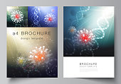 Vector layout of A4 cover mockups templates for brochure, flyer layout, booklet, cover design, book design. 3d medical background of corona virus. Covid 19, coronavirus infection. Virus concept