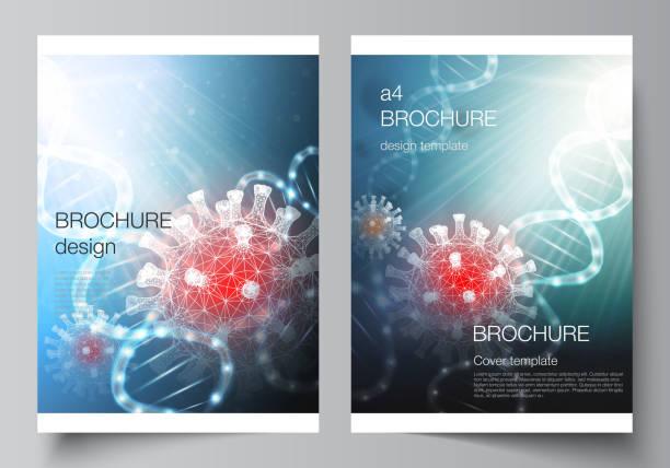 Vector layout of A4 cover mockups templates for brochure, flyer layout, booklet, cover design, book design. 3d medical background of corona virus. Covid 19, coronavirus infection. Virus concept. – artystyczna grafika wektorowa