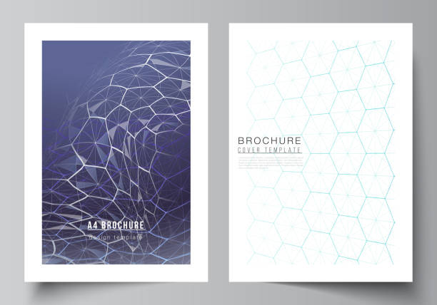 Vector layout of A4 format cover mockups design templates for brochure, flyer. Digital technology and big data concept with hexagons, connecting dots and lines, polygonal science medical background. – artystyczna grafika wektorowa