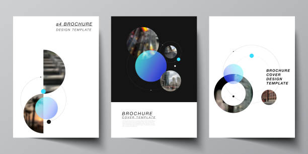 Vector layout of A4 format modern cover mockups design templates for brochure, flyer, booklet. Simple design futuristic concept. Creative background with circles that form planets and stars. – artystyczna grafika wektorowa