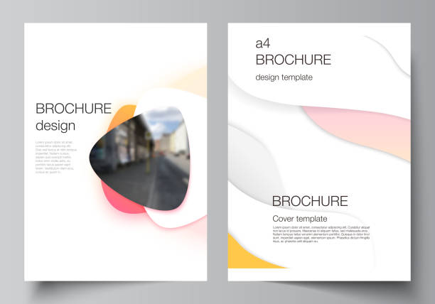 Vector layout of A4 format modern cover mockups design templates for brochure, magazine, flyer, booklet, report. Yellow color gradient abstract dynamic shapes, colorful geometric template design. – artystyczna grafika wektorowa