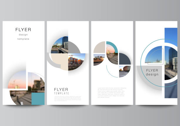 Vector layout of flyer, banner design templates for website advertising design, vertical flyer, website decoration. Background with abstract circle round banners. Corporate business concept template. – artystyczna grafika wektorowa