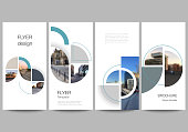 Vector layout of flyer, banner design templates for website advertising design, vertical flyer, website decoration. Background with abstract circle round banners. Corporate business concept template
