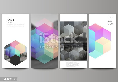 istock Vector layout of flyer, banner design templates with abstract shapes and colors for website advertising design, vertical flyer design, website decoration backgrounds. 1283994771