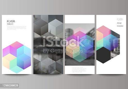 istock Vector layout of flyer, banner design templates with colorful hexagons, geometric shapes, tech background for website advertising design, vertical flyer design, website decoration backgrounds. 1296036628