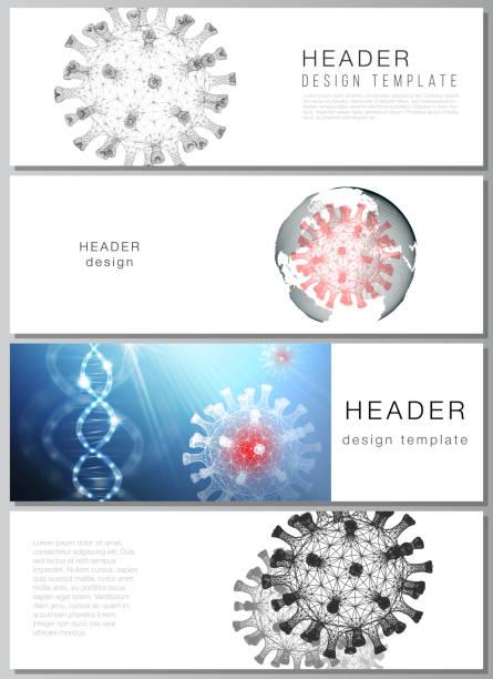 Vector layout of headers, banner design template for website footer, horizontal flyer, website header backgrounds. 3d medical background of corona virus. Covid 19, coronavirus infection. Virus concept – artystyczna grafika wektorowa