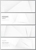 Vector layout of headers, banner design templates for website footer design, horizontal flyer design, website header background. Halftone effect decoration with dots. Dotted pop art pattern decoration.