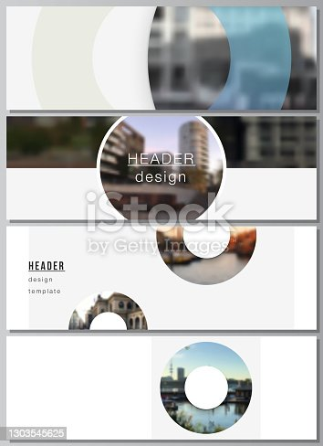 istock Vector layout of headers, banner templates for website footer design, horizontal flyer design, website header backgrounds. Background template with rounds, circles for IT, technology. Minimal style. 1303545625