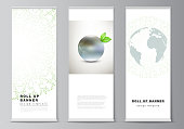 Vector layout of roll up mockup design templates for vertical flyers, flags design templates, banner stands, advertising. Save Earth planet concept. Sustainable development global business concept