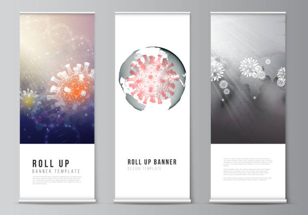 Vector layout of roll up mockup design templates for vertical flyers, flags design templates, banner stands. 3d medical background of corona virus. Covid 19, coronavirus infection. Virus concept. – artystyczna grafika wektorowa