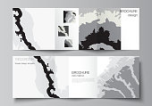 Vector layout of square covers design templates for trifold brochure, flyer, magazine, cover design, book design, brochure cover. Landscape background decoration, halftone pattern grunge texture