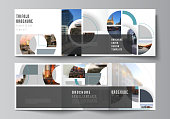 Vector layout of square covers design templates for trifold brochure, flyer, cover design, book, brochure cover. Background with abstract circle round banners. Corporate business concept template
