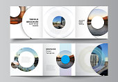 istock Vector layout of square covers templates for trifold brochure, flyer, magazine, cover design, book design, brochure cover. Background template with rounds, circles for IT, technology in minimal style. 1272541567