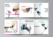 Vector layout of square format covers templates for trifold brochure, flyer, cover design, book design, brochure cover. Design template in the form of world maps and colored frames, insert your photo.