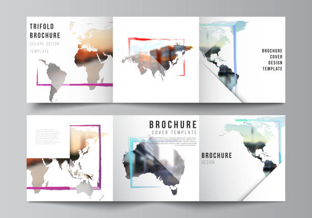 Vector layout of square format cover templates for trifold brochure, flyer, cover design, book design, brochure cover. Design template in the form of world maps and colored frames, insert your photo. – artystyczna grafika wektorowa