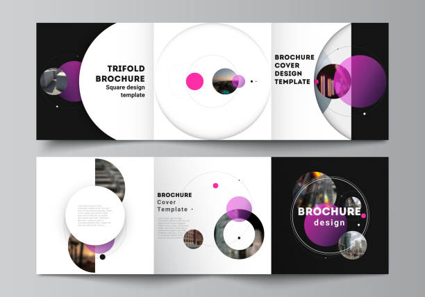 Vector layout of square format covers design templates for trifold brochure, flyer. Simple design futuristic concept. Creative background with pink circles and round shapes that form planets and stars – artystyczna grafika wektorowa