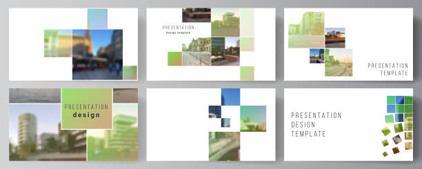 Vector layout of the presentation slides design business templates, multipurpose template for presentation brochure, brochure cover. Abstract project with clipping mask green squares for your photo. – artystyczna grafika wektorowa